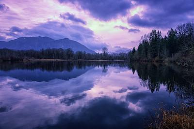 Borst Lake Winter Sunrise Mount Si Reflection 1-19-19