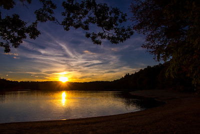 Walden Pond sunset sunstar 10-8-15 - Copy