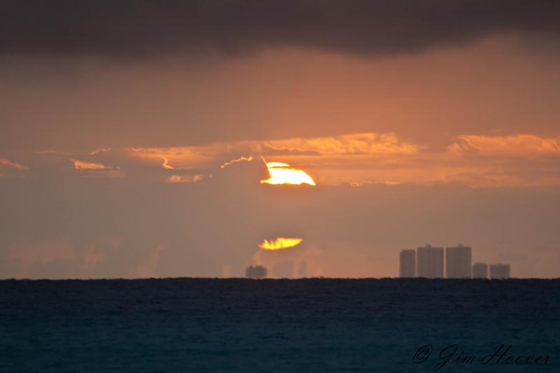 Sunrise over Cozumel from Playacar