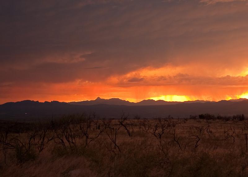 Monsoons at sunset from Madera Canyon