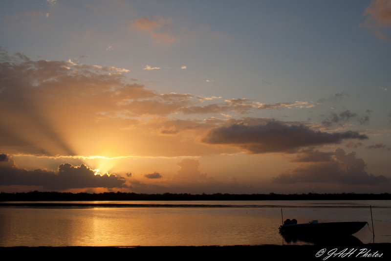 Sunrise from Bird's Eye View Lodge across Crooked Tree Wildlife Sanctuary<br /> Belize