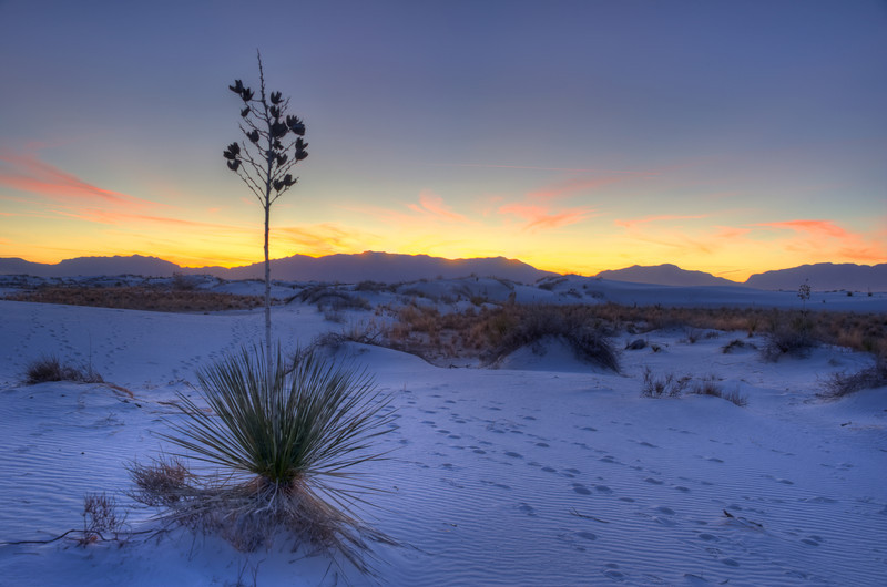 Sunset in White Sands National Monument, New Mexico
