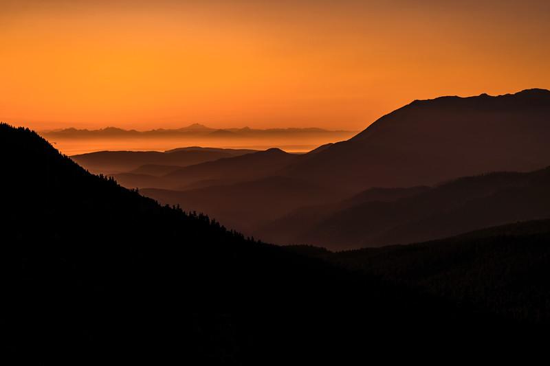 Sunrise on the road to Hurricane Ridge, Olympic National Park, Washington State