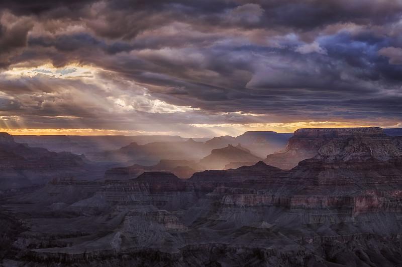 Sunset at Navajo Point, South Rim, Grand Canyon National Park, Arizona