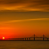 Sun rising over the Sunshine Skyway Bridge, St. Petersburg, Florida
