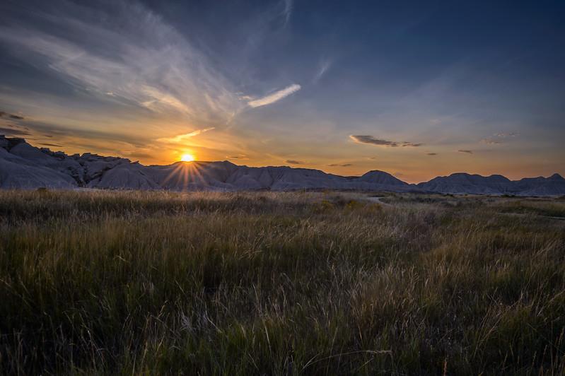 Sunset at Toadstool Geologic Park in Oglala National Grassland in northwestern Nebraska
