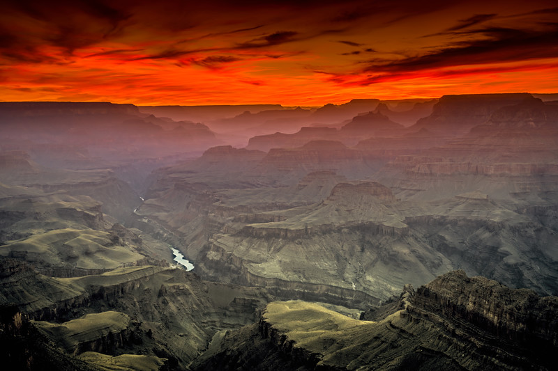View of the sunset from Lipan Point, South Rim, Grand Canyon, Arizona