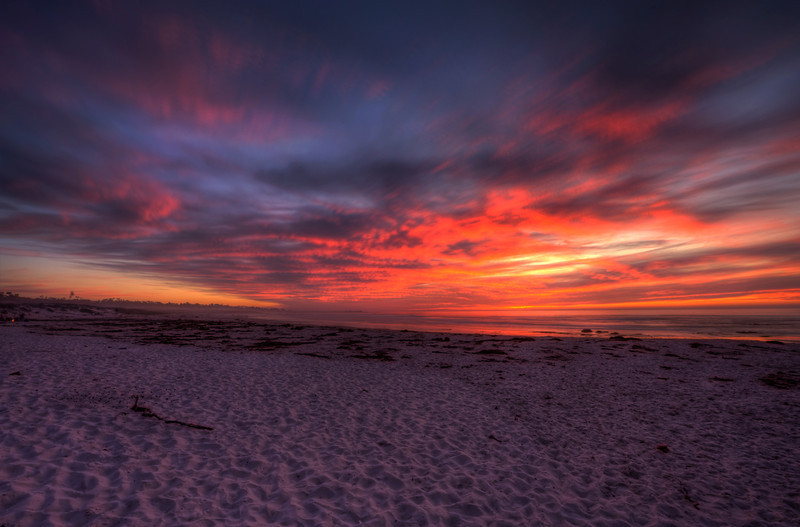 Fire on the Beach and in the Sky, Monterey, California