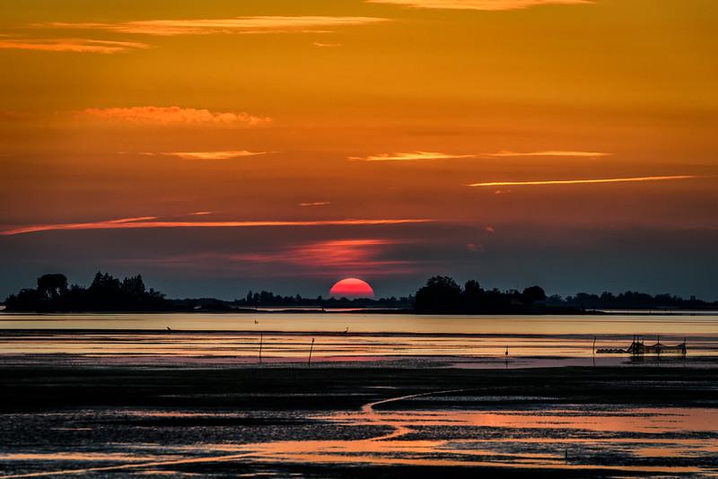 Sunset in the Grado lagoon, Italy