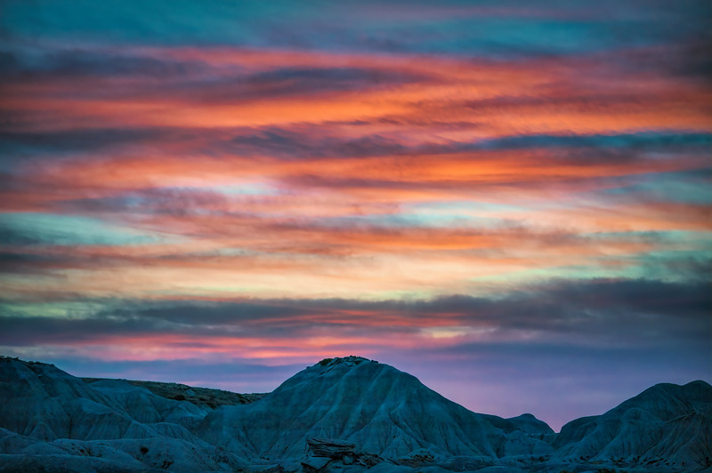 Dramatic clouds over Toadstool Geological Park in northwestern Nebraska just after sunset