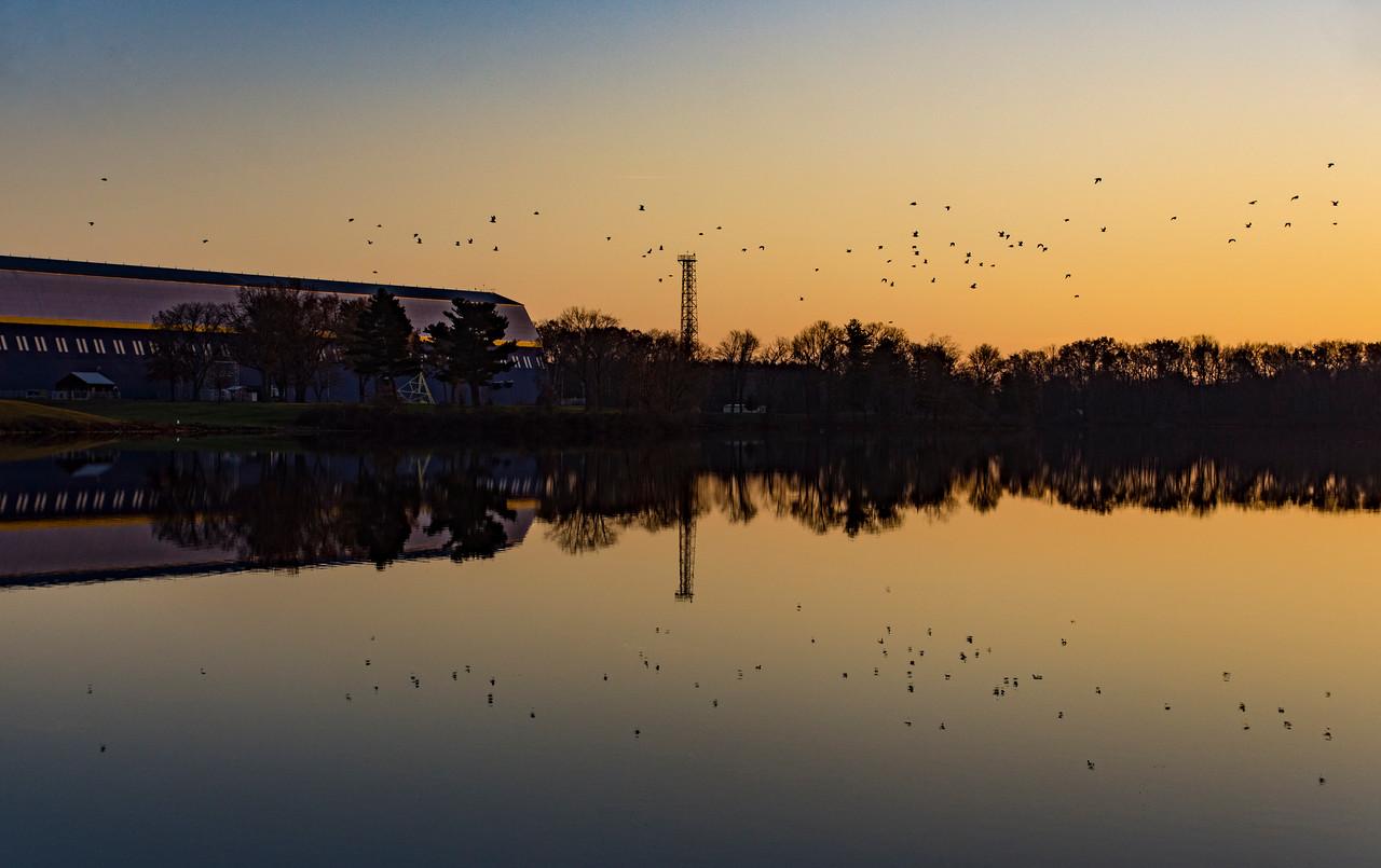 Goodyear Blimp Hanger on Wingfoot Lake at Sunset