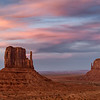 Sunset over the West and East Mittens at Monument Valley Navajo Tribal Park