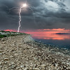 Antelope Island Lightning Strike at Sunset
