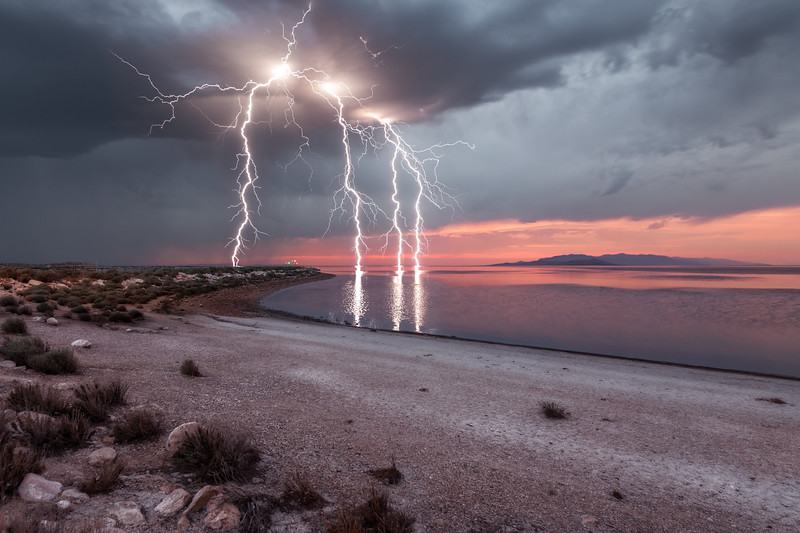 Antelope Island Lightning Strikes at Sunset