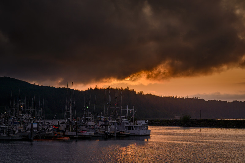 Sunset over the marina in Neah Bay, Olympic Peninsula, Washington State
