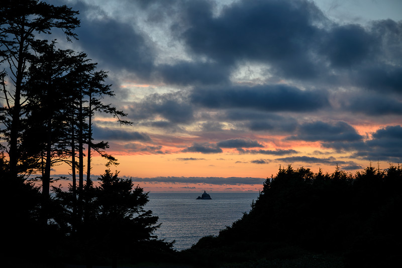 The Tillamook Rock Lighthouse as seen from Ecola State Park, Cannon Beach, Oregon just after sunset