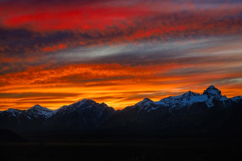 Sunset over the Teton Range, Grand Teton National Park, Wyoming
