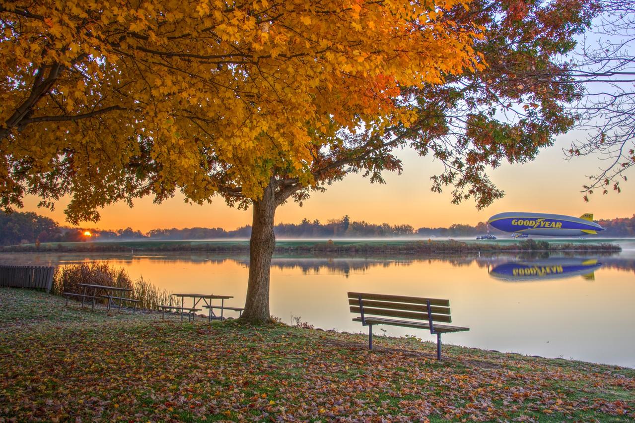 Goodyear Blimp at Wingfoot Lake Sunrise