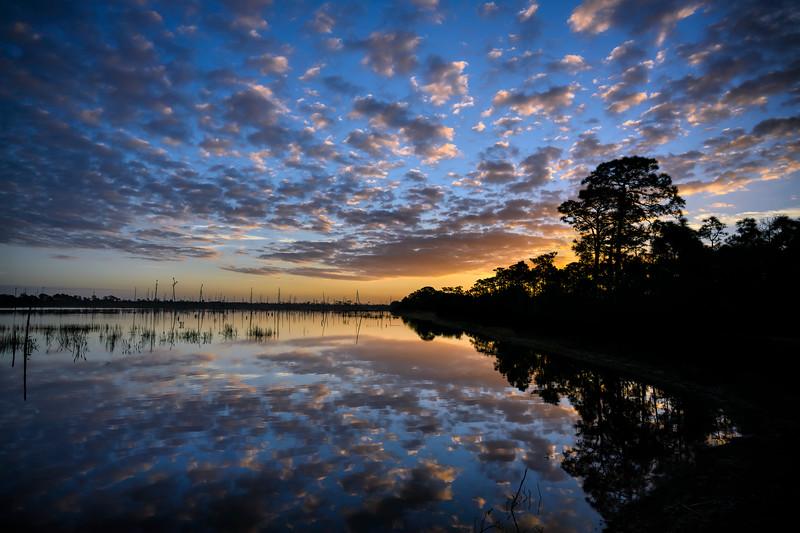 Sunrise over marsh at Babcock Wildlife Management Area near Punta Gorda, Florida