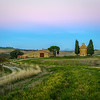 Sunrise near Pienza in the Val d'Orcia in Tuscany, Italy