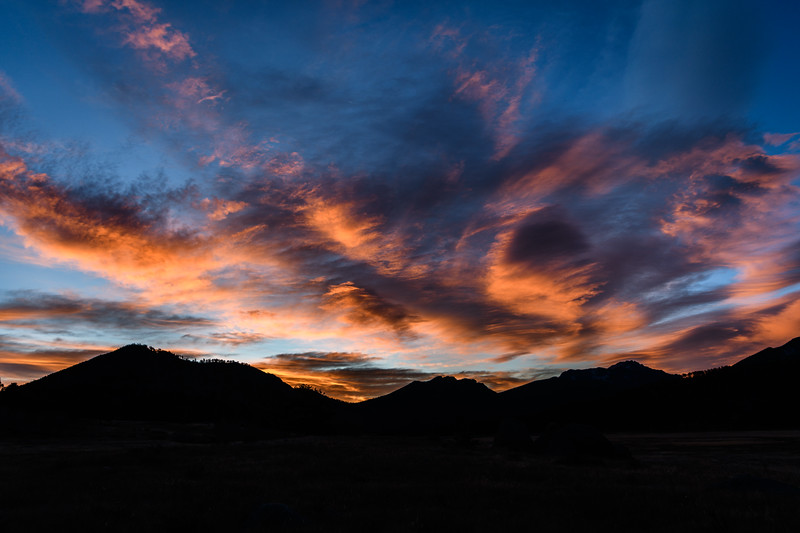 Sunrise over Rocky Mountain National Park near Estes Park, Colorado