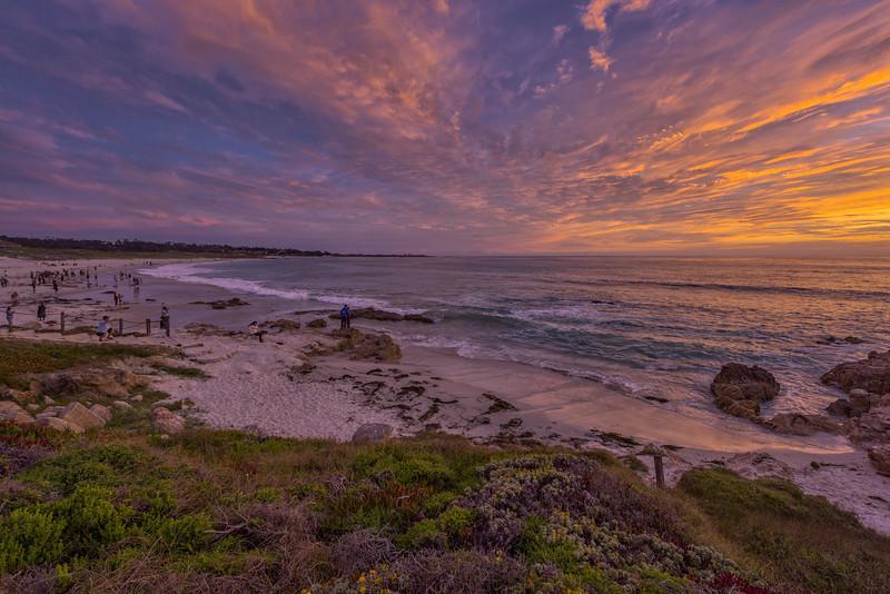 Sunset on Asilomar State Beach, Pacific Grove, California