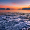 Ice Sheets at Sunset over Utah Lake