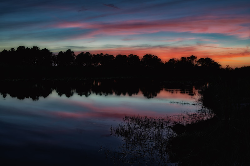 Sunset over pond in Babcock Wildlife Management Area, Punta Gorda, Florida