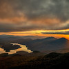 Sunset over Lake Placid and the Adirondack Mountains as seen from the summit of Whiteface Mountain, New York