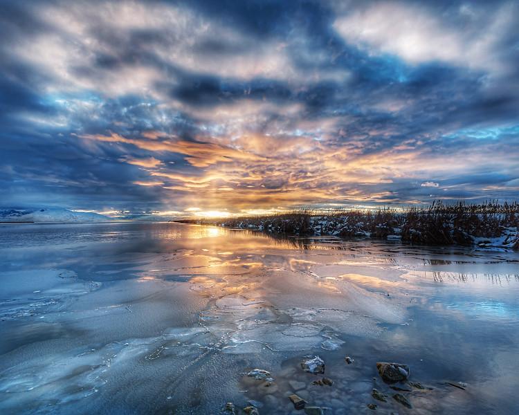 Moody Blue Sunset over Great Salt Lake