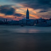 Sunset over the Venice Lagoon, Venice, Italy