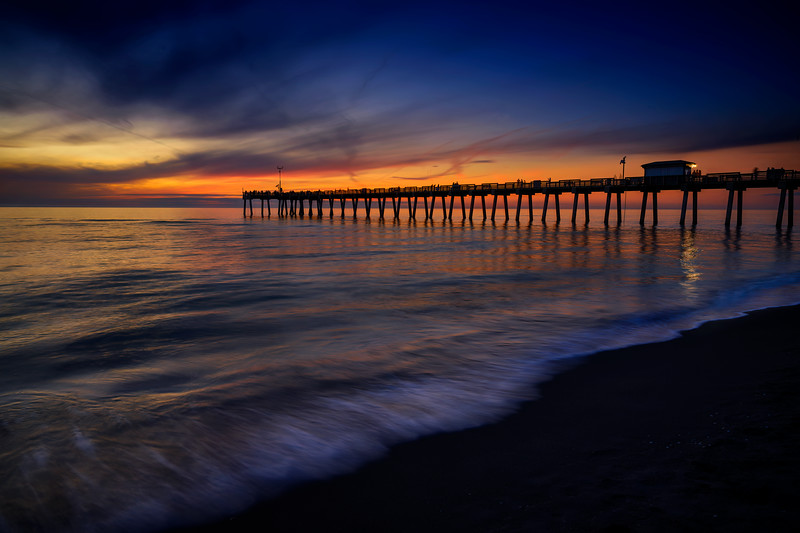 Sunset on the beach with the Venice Pier in the background, Venice, Florida