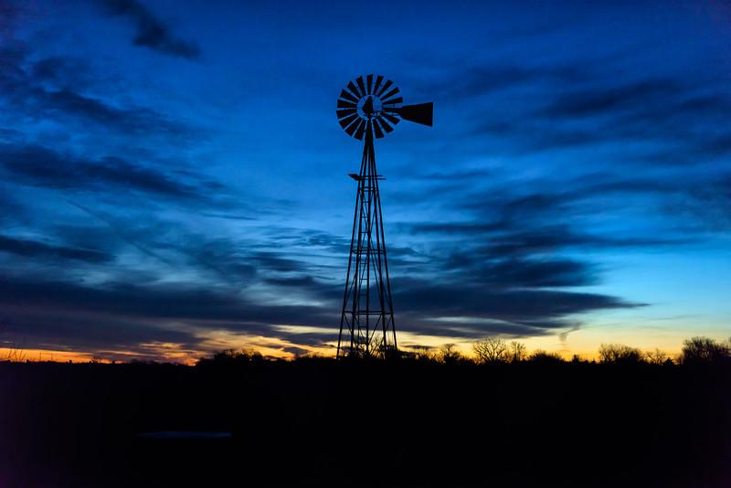Dawn is breaking - Nebraska windmill at sunrise