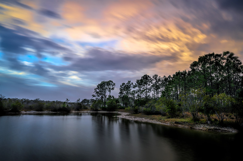 Long exposure of clouds over pond at sunrise at Babcock Wildlife Management Area near Punta Gorda, Florida