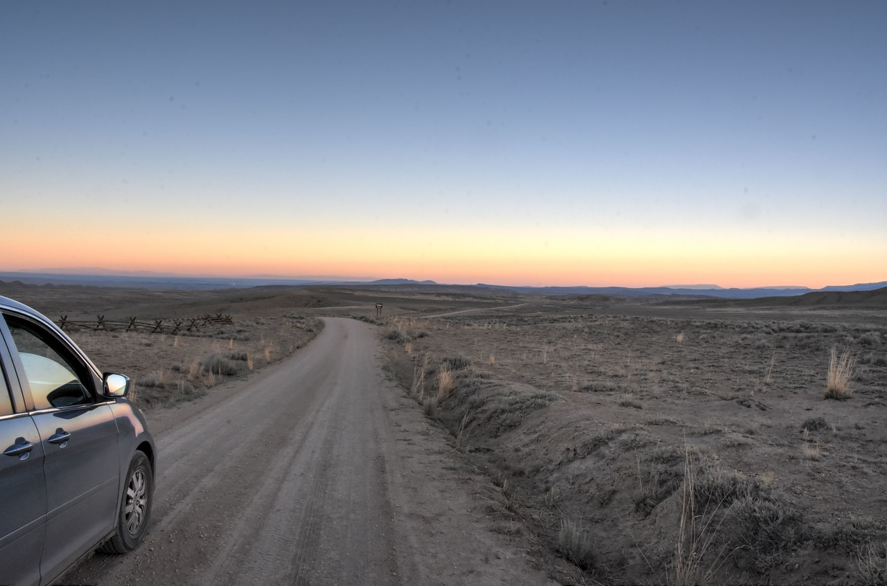 Sunrise on the Red Gulch Scenic Byway in Bighorn Basin, Wyoming