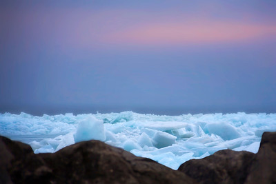 blue ice on the lake