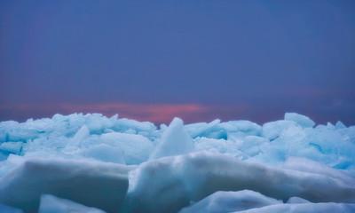 blue ice at sunrise