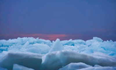 blue ice at sunrise