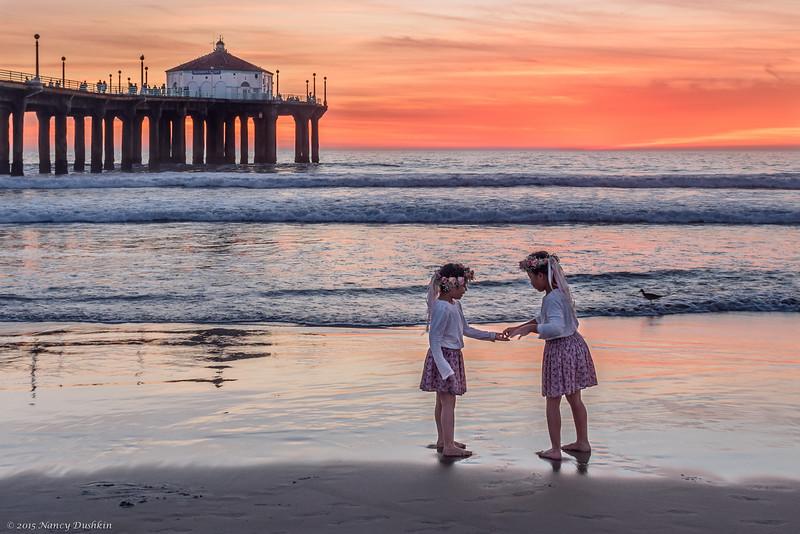 Flower Girls at the beach