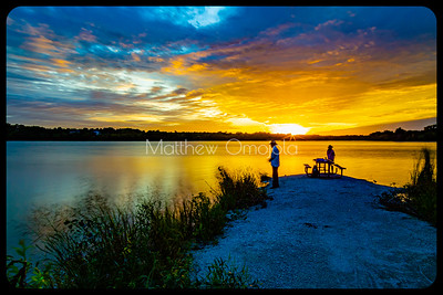 Sunset Ed Zorinsky lake Omaha Nebraska. Golden hour
