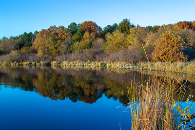 Fall autumn colors with forest and sky reflections in Ed Zorinsky Lake Omaha NE at sunset.