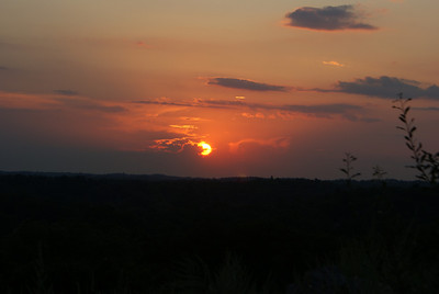 The setting sun from a hill top in Saugus, MA