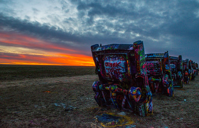Early Sunset at Cadillac Ranch