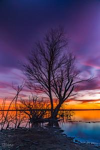 Winter sunset at Lake Grapevine