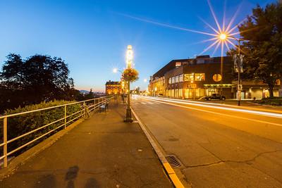 Sunset. British Columbia Legislature Building (off int he distance). Downtown Victoria, BC, Canada