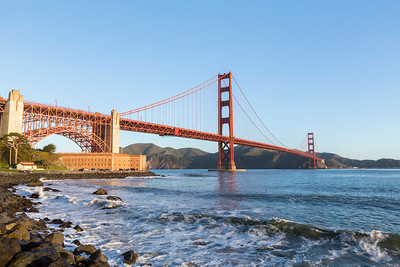 Sunrise. Golden Gate Bridge. Near Torpedo Wharf - San Francisco, CA, USA