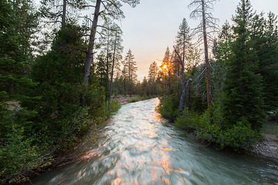 Sunset. Middle Fork Stanislaus River. Unnamed Trail. Stanislaus National Forest, CA, USA
