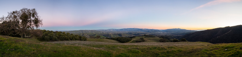 Panorama. Sunset. Olive Grove Trail, Sunol, and Interstate 680. Near Olive Grove Trail. Pleasanton Ridge Regional Park - Sunol, CA, USA