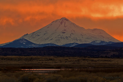 California Landscape: Mount Shasta at sunset.