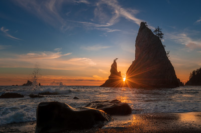 Sunset behind the Sea Stacks